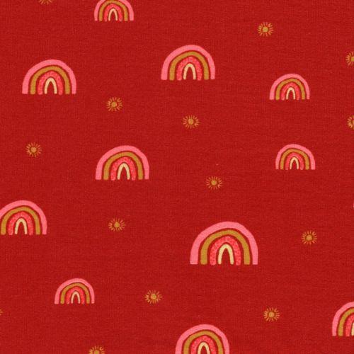 Tissu sweat fin rainbow rouille Poppy