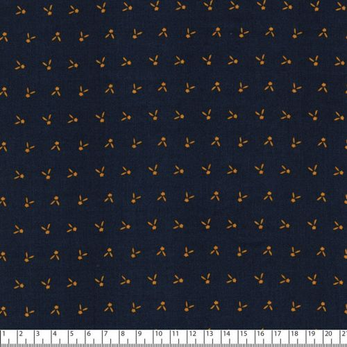 Tissu motif moutarde fd marine 100%vis larg 140 cm