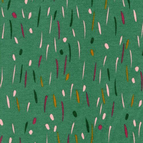 Tissu sweat fin funny stripes vert Poppy