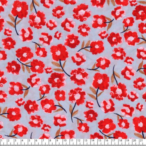 Tissu fleurs rouges fd bleu 100% viscose marg 140 cm