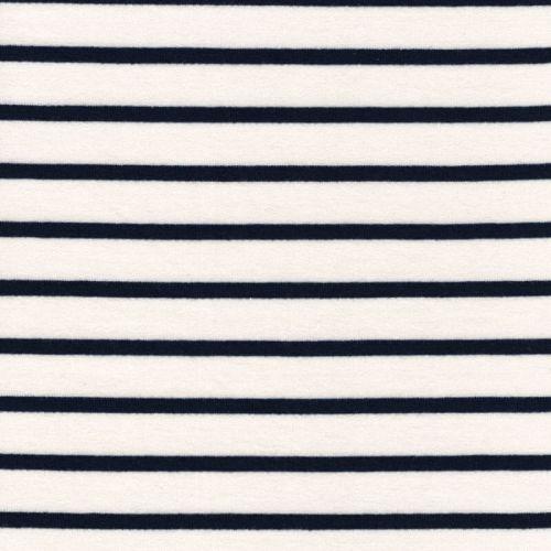 Tissu french terry  marinière fond blanc