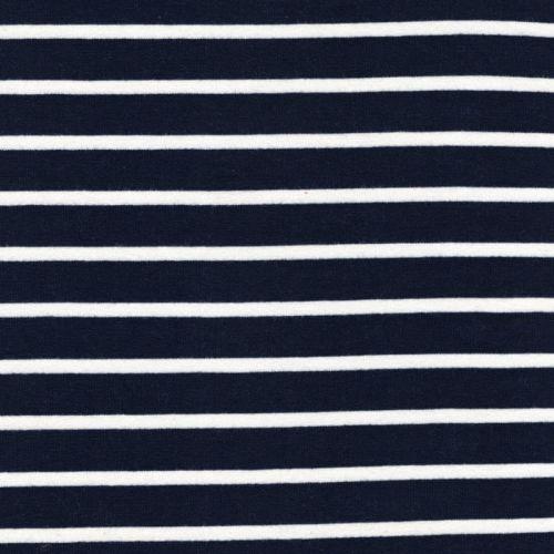 Tissu french terry marinière fond bleu