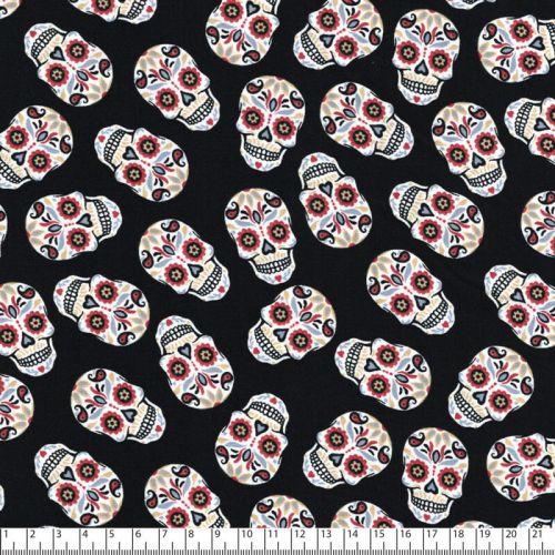 Tissu coton tête de mort fond noir