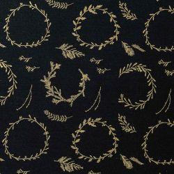 Tissu couronnes or fond noir Rico
