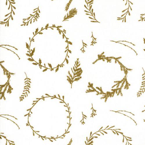 Tissu couronnes or fond blanc Rico
