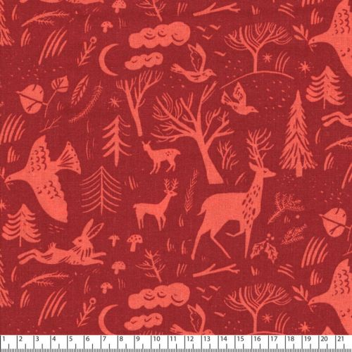 Tissu forêt hivernale fond rouge Rico
