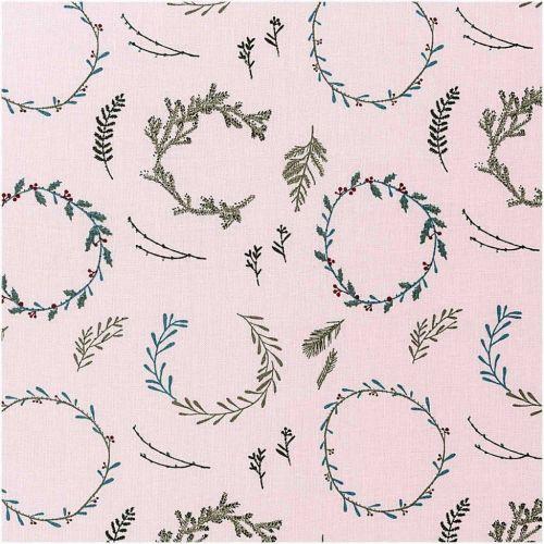 Tissu couronnes de Noël fond rose