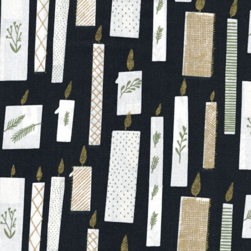 Tissu bougies or fond noir Rico Design