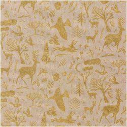 Tissu coton forêt or fond beige façon lin