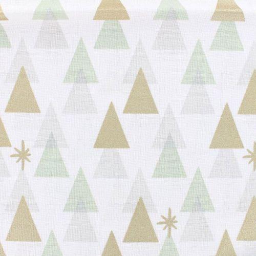 Tissu sapins glitter fond blanc Rico Design