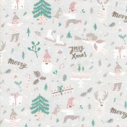 Tissu elfes et anges glitter et fluo fond gris Rico Design