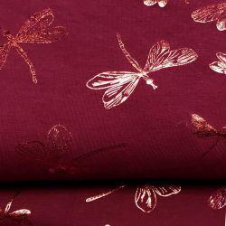 Tissu jersey libellule foil bordeaux 96%cot/4%el larg 150 cm