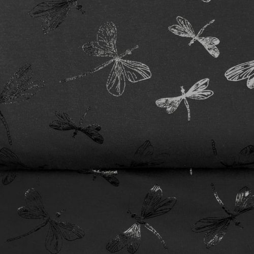 Tissu jersey libellule foil noir