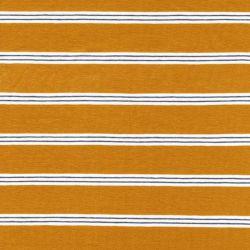 Tissu jersey marinière moutarde/blanc