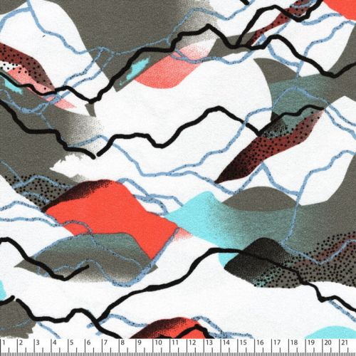Tissu jersey montagnes vert/bleu 95%vis/5%el larg 150 cm
