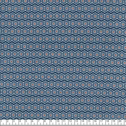 Tissu jersey graphique lurex bronze fond bleu