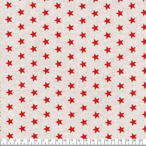 Tissu étoiles rouges fd beige 80%cot/20%pes larg 140 cm