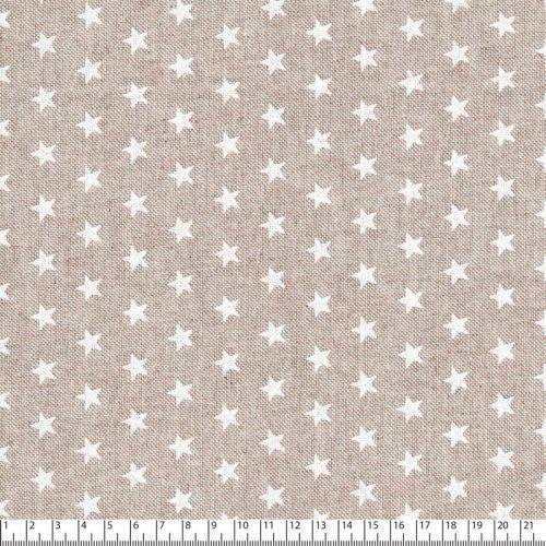 Tissu étoiles blanches fd beige 80%cot/20%pes larg 140 cm