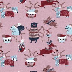 Tissu jersey animaux en hiver rose