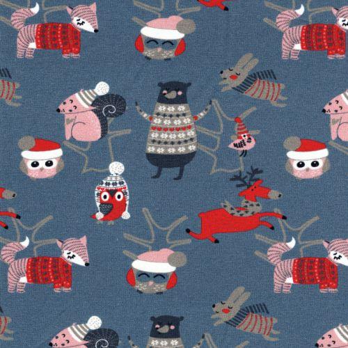 Tissu jersey animaux en hiver bleu