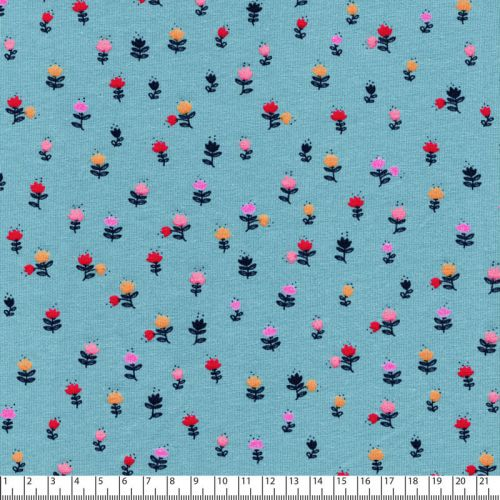Tissu jersey sweet flowers Poppy fond bleu