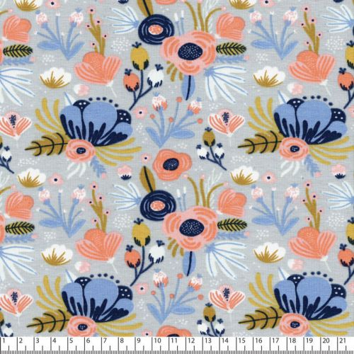 Tissu jersey  bouquet de fleurs Poppy