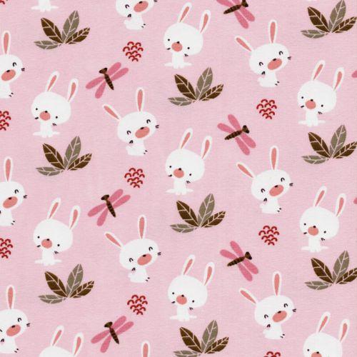Tissu jersey lapins libellules fond rose