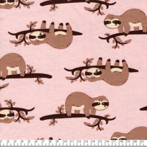Tissu jersey paresseux fond rose
