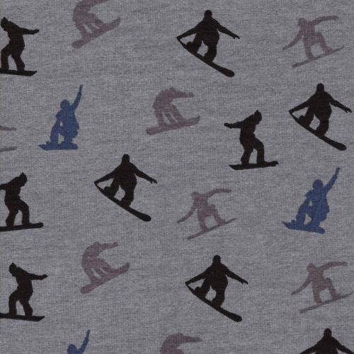 Tissu  French terry snowboarders fond gris