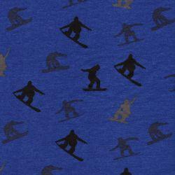 Tissu French terry snowboarders fond bleu