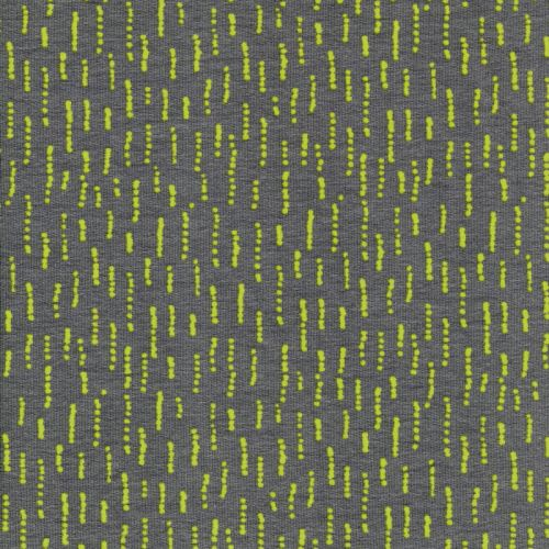 Tissu french terry Funky Stripes gris et jaune