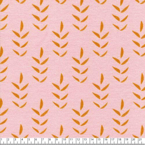 Tissu jersey épais brindilles by Jolijou jaune fond rose 60%
