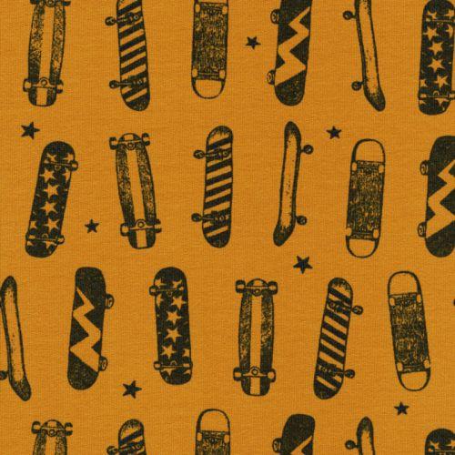 Tissu French Terry skates fond moutarde