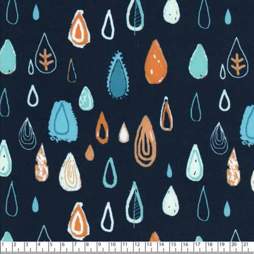 Tissu soft shell gouttes fd bleu 97%pl/3%sp larg 145 cm