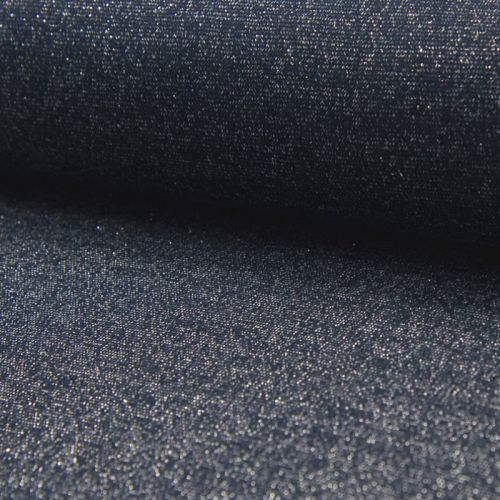 Bord côte bleu jean chiné lurex ar 85%cot/10%lu/5%el