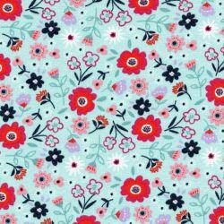 Tissu sweat fleurs fd bleu 56%cot/40%pe/4%ly larg 150cm