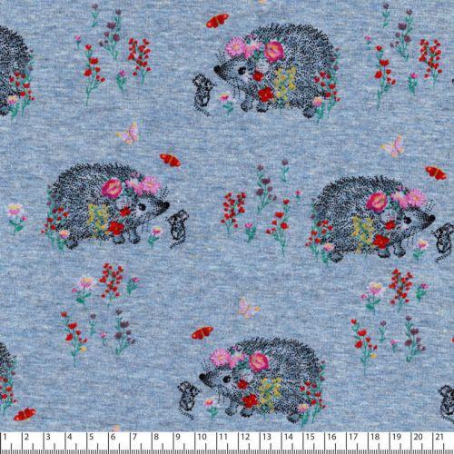 Tissu sweat hérissons fleuri fd gris bleu 40%cot/56%pl/4%el