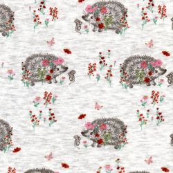 Tissu sweat hérissons fleuri fd beige 40%cot/56%pl/4%el larg