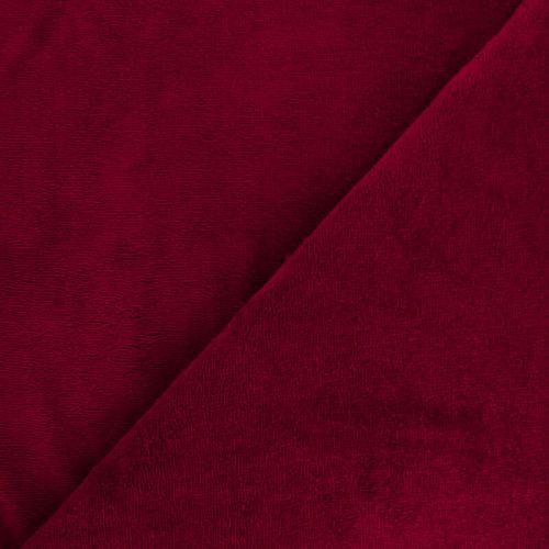Tissu micro éponge grenat 40%bamb/40%pol/20%cot larg 150 cm