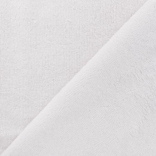 Tissu micro éponge blanc 40%bam/40%pl/20%cot larg 150 cm