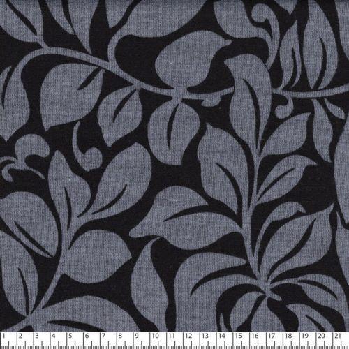 Tissu jersey punta di roma fleurs gris/noir 55%pl/45%vis lar