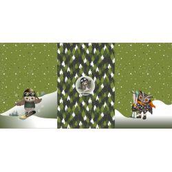 Panneau triple French terry Hiboux vert 75cmx150cm