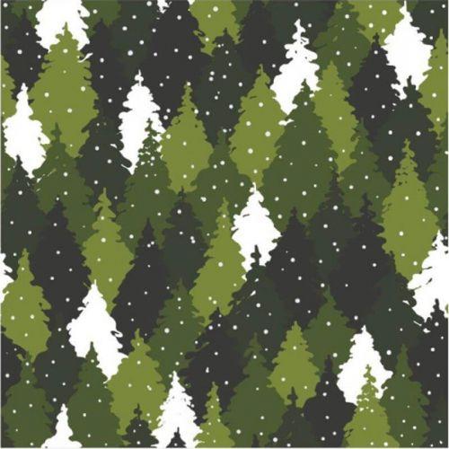 Tissu French terry sapins vert