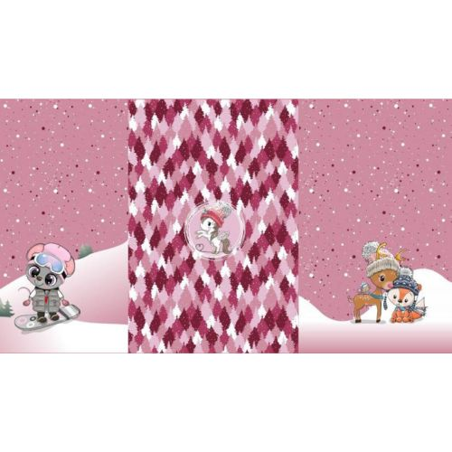Tissu French terry pois fond rose