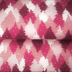 Tissu French terry sapins enneigés rose