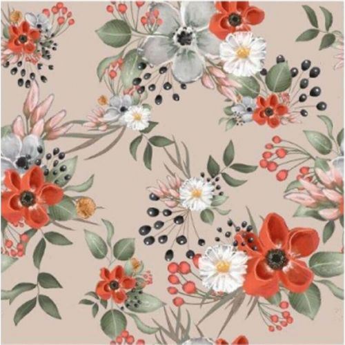 Tissu French terry bouquets de fleurs fond beige