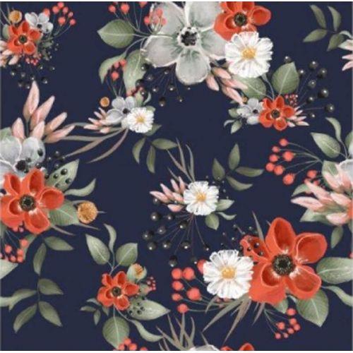 Tissu French terry bouquets de fleurs fond marine