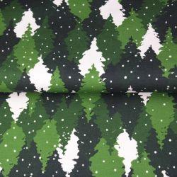 Tissu French terry sapins enneigés vert