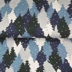 Tissu French terry sapins enneigés bleu