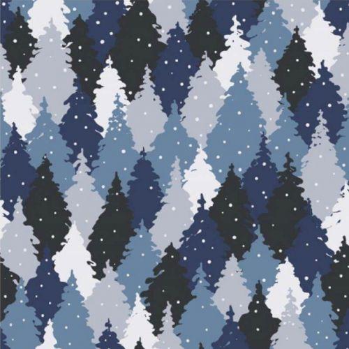 Panneau triple FT Hiboux bleu 95%cot/5%el 75cmx150cm